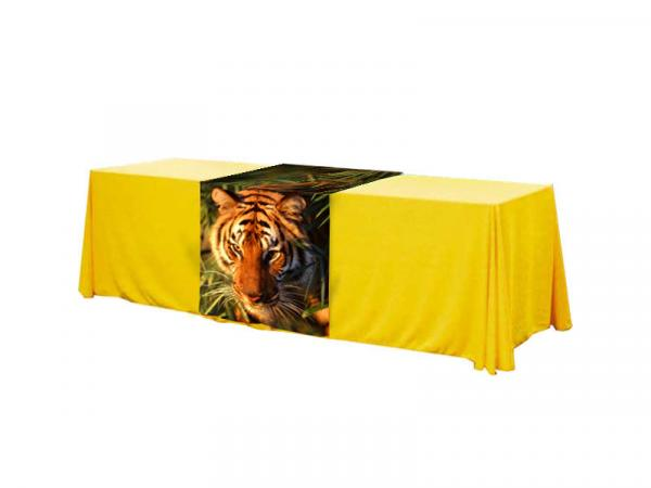 "8ft Table Throw Twill Solid Color with 30"" wide Full Dye Sub Runner"