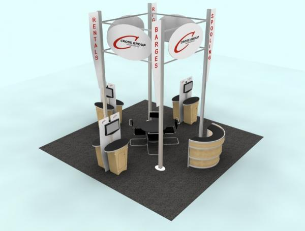 RE-9004 Rental Exhibit / 20� x 20� Island Trade Show Display � Image 1