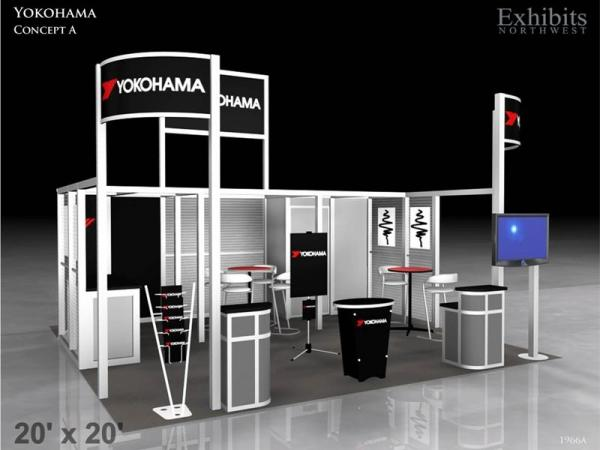 RE-9025 Rental Exhibit / 20� x 20� Island Trade Show Display � Image 2