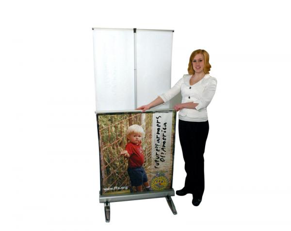 MediaScreen AWD retractable outdoor banner stand - Double sided graphic easily retracts