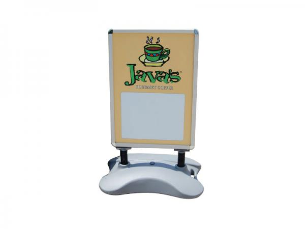 Outdoor double sided display with water or sand filled base