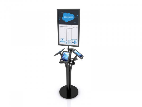 MOD-1347 Portable iPad Kiosk  with Signholder -- Black --  Laminated Base with Wire Management