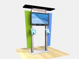 RE-1231  /  Large Monitor Kiosk with Flat Canopy - Image 1
